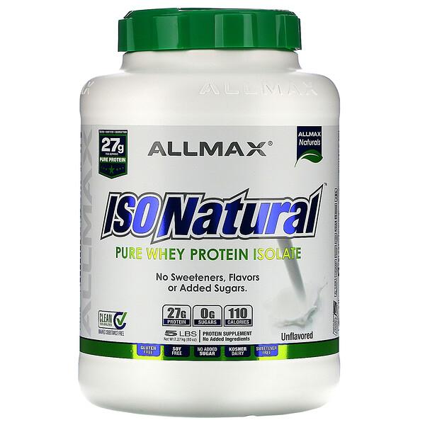 IsoNatural, чистый изолят сывороточного белка, оригинальная формула, без вкусовых добавок, 2,25 кг (5 фунтов)