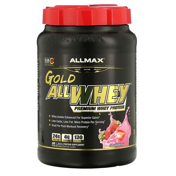 AllWhey Gold, 100% сывороточный белок премиум-качества, со вкусом клубники, 907 г (2 фунта)