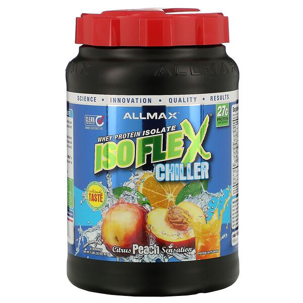 Isoflex Chiller, сверхчистый 100%-ный изолят сывороточного протеина (фильтрация ИСП частицами, заряженными ионами), цитрусово-персиковое ощущение, 2 фунта (907 г)