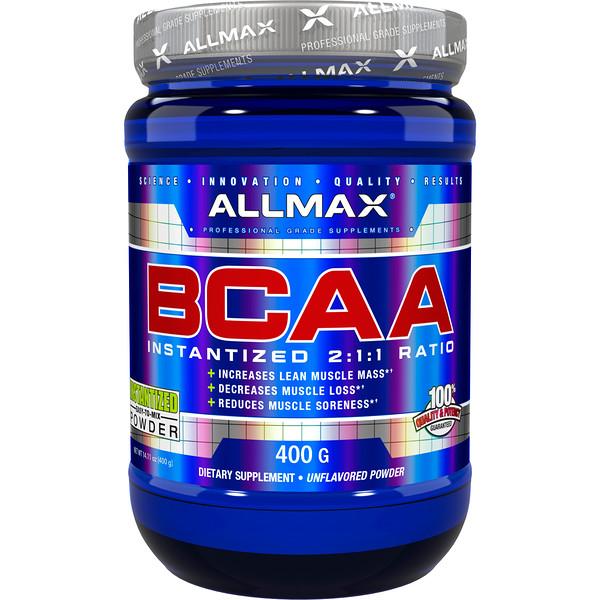 ALLMAX Nutrition, BCAA, быстрорастворимый продукт, соотношение 2:1:1, неароматизированный порошок, 400 г