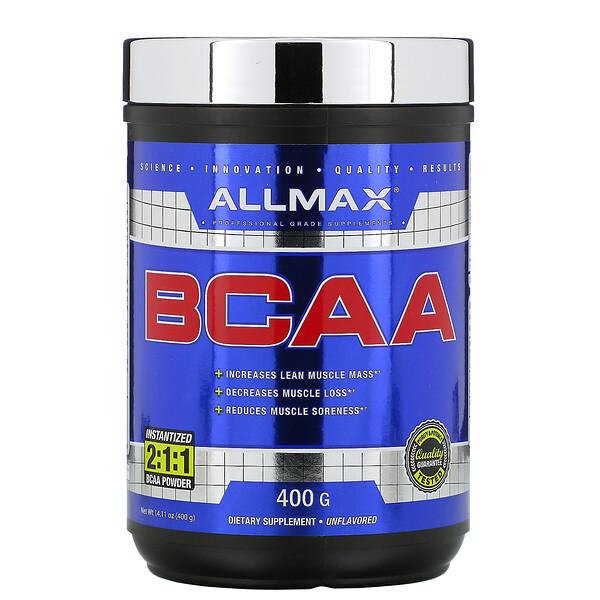 BCAA, быстрорастворимый продукт, соотношение 2:1:1, неароматизированный порошок, 400 г