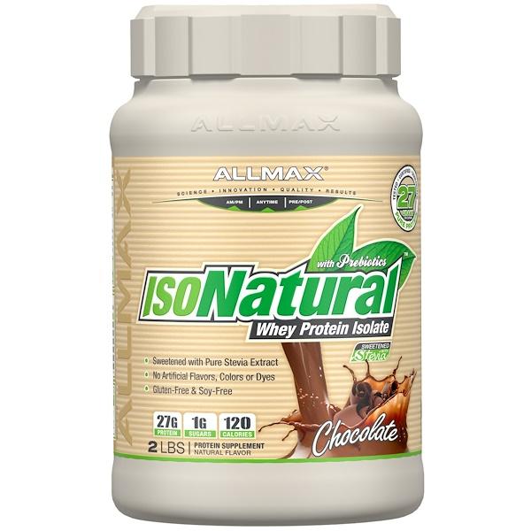 IsoNatural, 100% ультра-чистый натуральный изолят сывороточного белка, шоколадный, 2 фунтов (907 г)