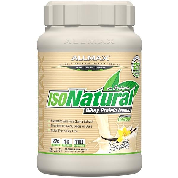 IsoNatural, 100% ультра-очищенный натуральный изолят сывороточного протеина, со вкусом ванили, 907 г