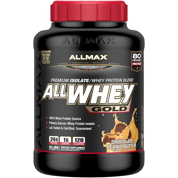 AllWhey Gold, 100% Premium Whey Protein, Chocolate Peanut Butter, 5 lbs. (2.27 kg)