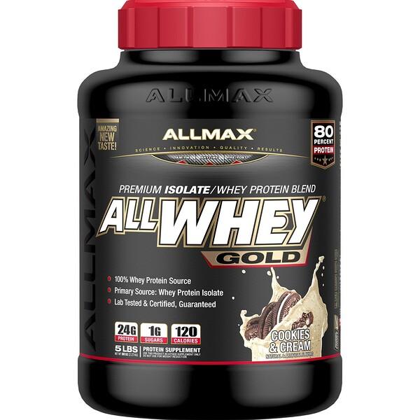 AllWhey Gold, 100% сывороточный протеин + Изолят сывороточного протеина превосходного качества, печенье и сливки, 5 ф. (2,27 кг)