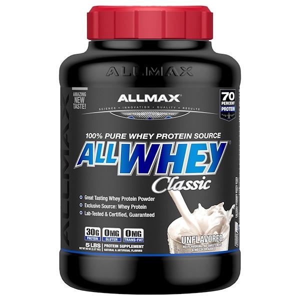 ALLMAX Nutrition, AllWhey Classic, 100% сывороточный протеин, без вкусовых добавок, 2,27 кг (Discontinued Item)
