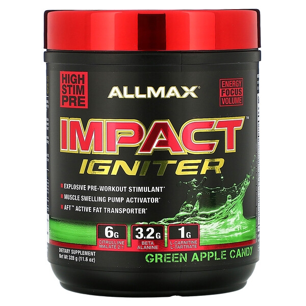 Impact Igniter Pre-Workout, Green Apple Candy, 11.6 oz (328 g)