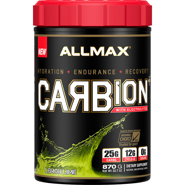 CARBion+ with Electrolytes + Hydration, Gluten-Free + Vegan Certified, Lemon Lime, 1.91 lbs (870 g)