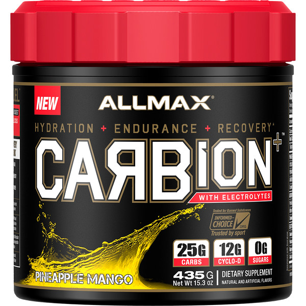 ALLMAX Nutrition, CARBion+ with Electrolytes + Hydration, Gluten-Free + Vegan Certified, Pineapple Mango, 15.3 oz (435 g) (Discontinued Item)