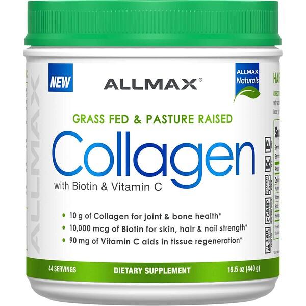 ALLMAX Nutrition, Экологически чистый коллаген с 10 000 мкг биотина + 90 мг витаминаC, 440 г (15,5 унции)