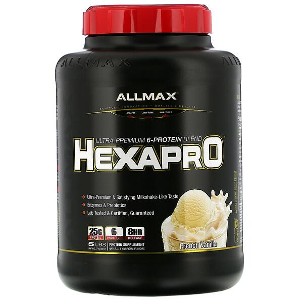Hexapro, смесь из 6протеинов ультрапремиального качества, французская ваниль, 2,27кг (5фунтов)