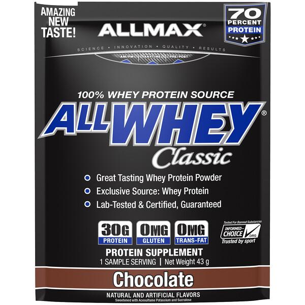 AllWhey Classic, 100% сывороточный протеин, шоколад, 43г