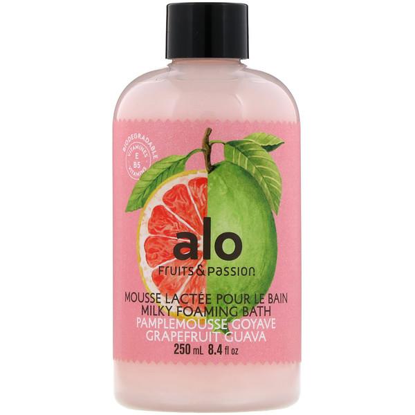 Fruits & Passion, ALO, Milky Foaming Bath, Grapefruit Guava, 8.4 fl oz (250 ml) (Discontinued Item)