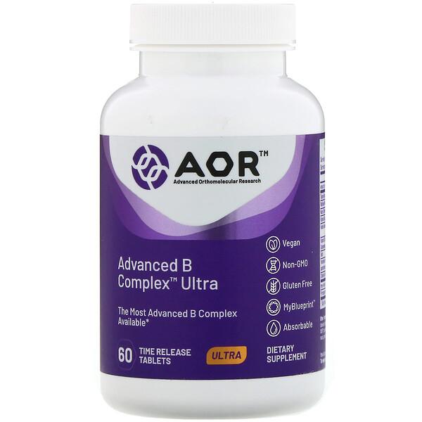 Advanced Orthomolecular Research AOR, Advanced B Complex Ultra, улучшенный ультракомплекс витаминов группы В, 60 таблеток с медленным высвобождением