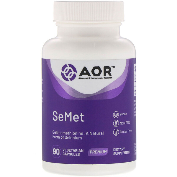 Advanced Orthomolecular Research AOR, SeMet, 90 растительных капсул