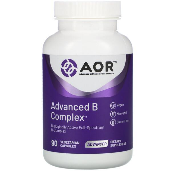Advanced Orthomolecular Research AOR, Advanced B Complex, улучшенный комплекс витаминов группы В, 90растительных капсул