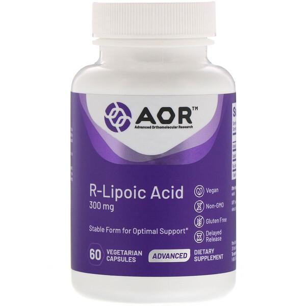 Advanced Orthomolecular Research AOR, R-липоевая кислота, 300мг, 60растительных капсул