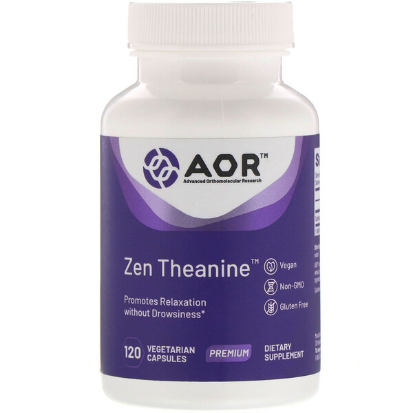 Advanced Orthomolecular Research AOR, Zen Theanine, 120вегетарианских капсул (Discontinued Item)