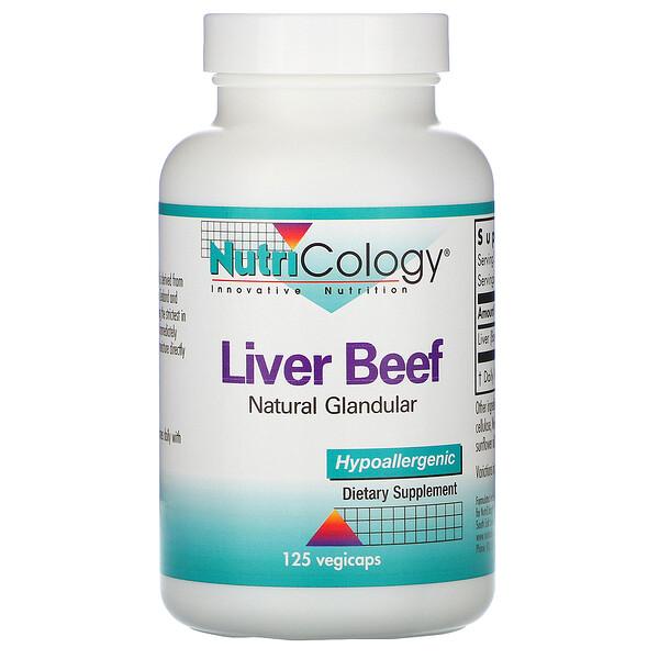 Nutricology, Говяжья печень, натуральная вытяжка из железы, 125 растительных капсул