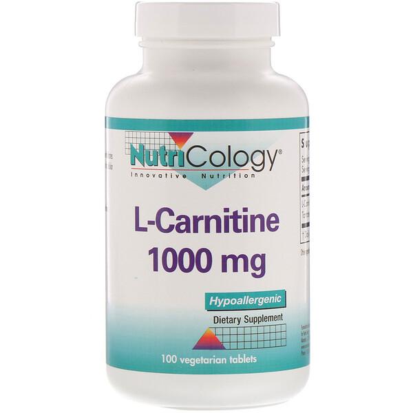 Nutricology, L-Carnitine, 1,000 mg, 100 Vegetarian Tablets
