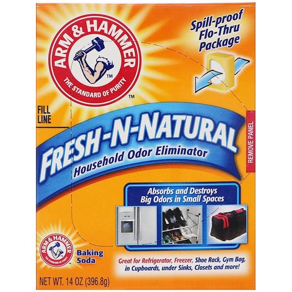 Arm & Hammer, Fresh-n-Natural, пищевая сода для устранения запахов в доме, 14 унц. (396,8 г) (Discontinued Item)