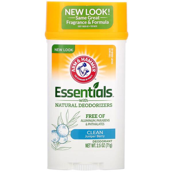 Essentials, дезодорант, с натуральными дезодорирующими компонентами, чистота, можжевеловая ягода, 71г (2,5унции)