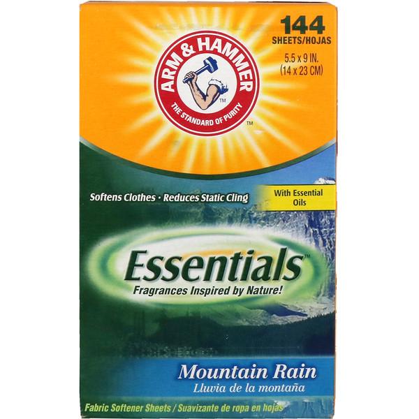 Essentials, салфетки для смягчения ткани, горный дождь, 144 салфетки