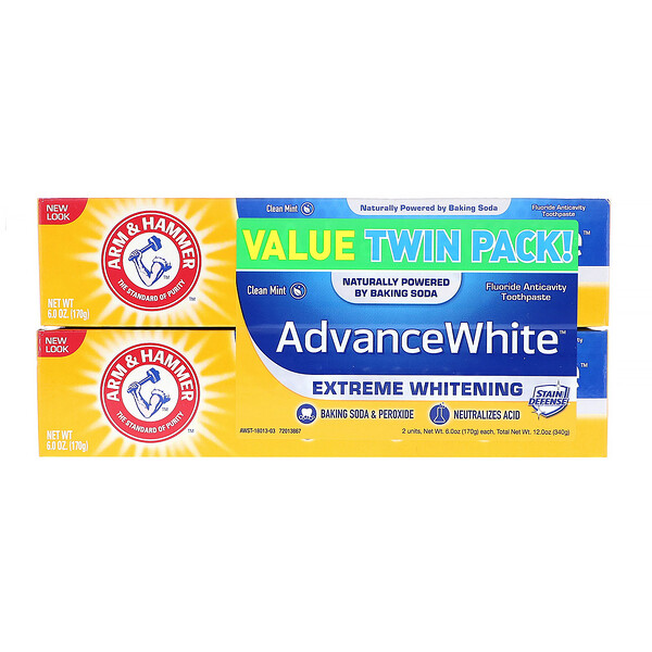 Advance White, Extreme Whitening Toothpaste, Clean Mint, Twin Pack, 6.0 oz (170 g) Each