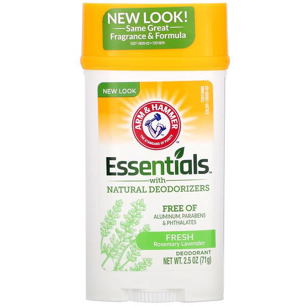 Essentials с натуральными дезодорирующими компонентами, дезодорант, свежий розмарин и лаванда, 71г (2,5унции)