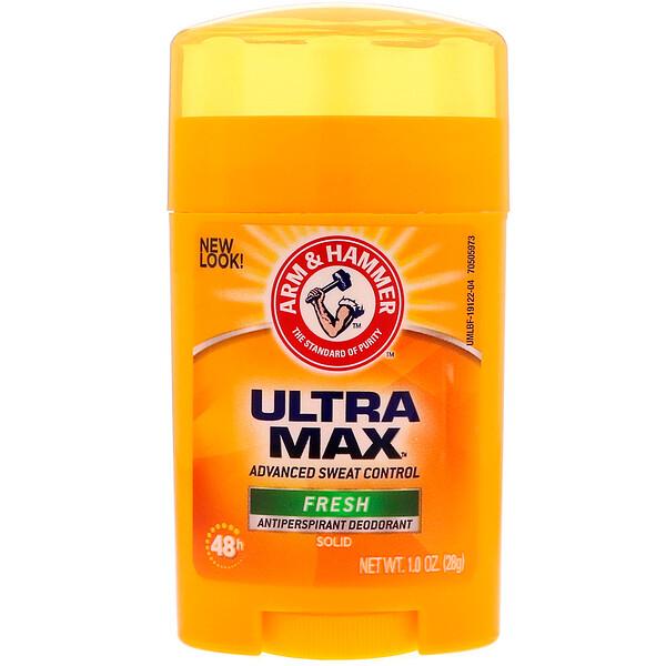 Arm & Hammer, UltraMax — твердый дезодорант с антиперспирантом, для мужчин, аромат свещести, 1,0 унция (28 г)