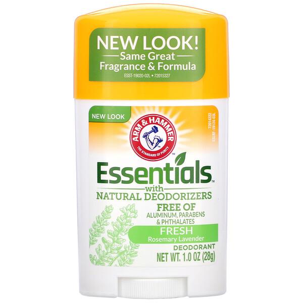 Essentials с натуральными дезодорирующими компонентами, дезодорант, свежий розмарин и лаванда, 28 г (1,0 унции)