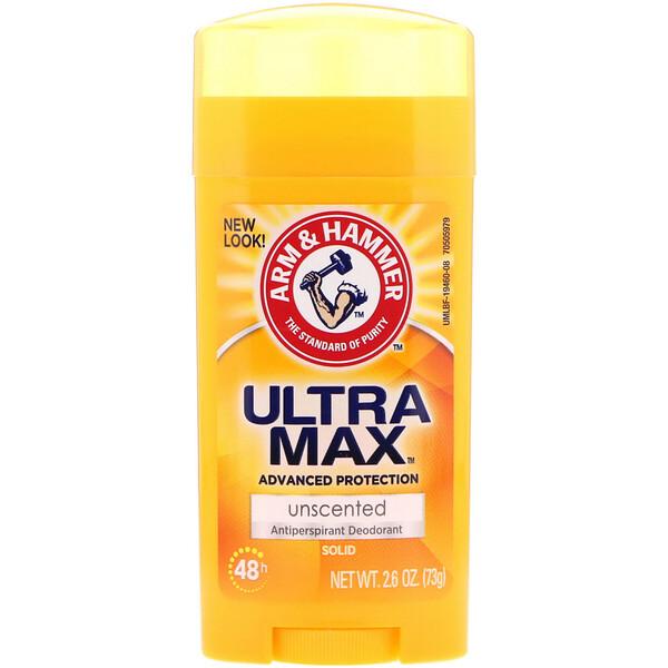 Arm & Hammer, UltraMax, твердый антиперспирантный дезодорант, для женщин, без запаха, 2,6 унц. (73 г)
