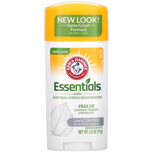 Essentials с натуральными цитрусовыми дезодорирующими компонентами, дезодорант, без запаха, 71 г (2,5 унции)