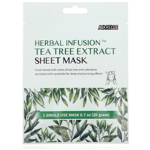Herbal Infusion, Tea Tree Extract Sheet Mask, 1 Sheet, 0.7 oz (20 g)