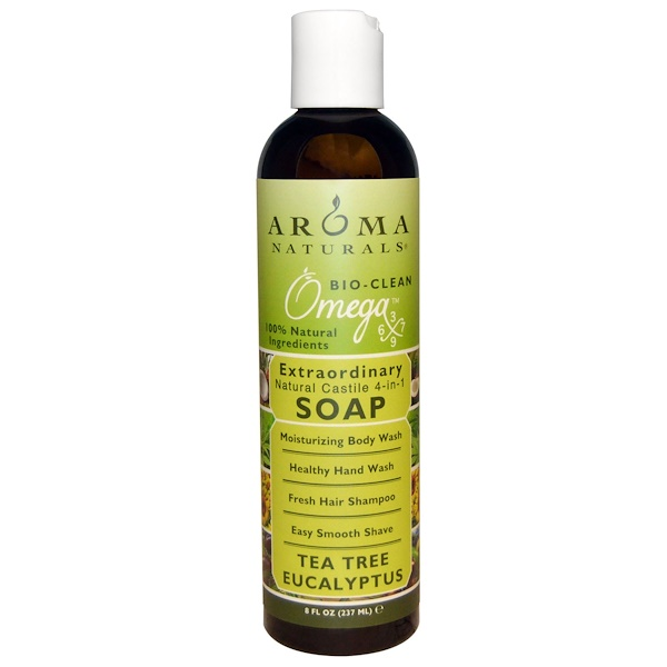 Aroma Naturals, 4-in-1 Soap, Tea Tree Eucalyptus, 8 fl oz (237 ml) (Discontinued Item)