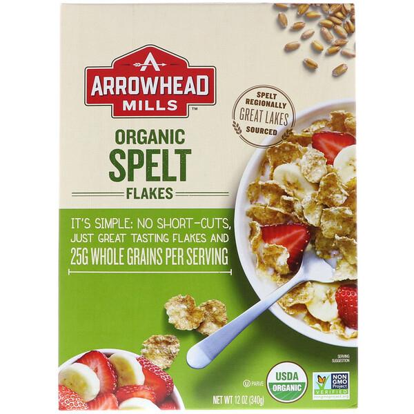 Arrowhead Mills, Органические хлопья из пшеницы сорта спельта, 12 унций (340 г)