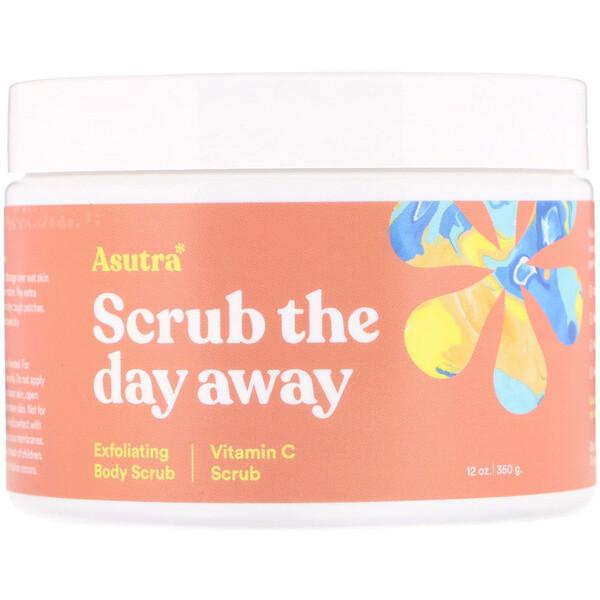 Asutra, Сними дневной стресс отшелушивающим скрабом для тела, с витамином C, 12 унций (350 г)