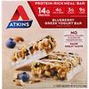 Atkins, Греческий йогуртовый батончик, черника, 5 батончиков, 1,69 унц. (48 г) каждый