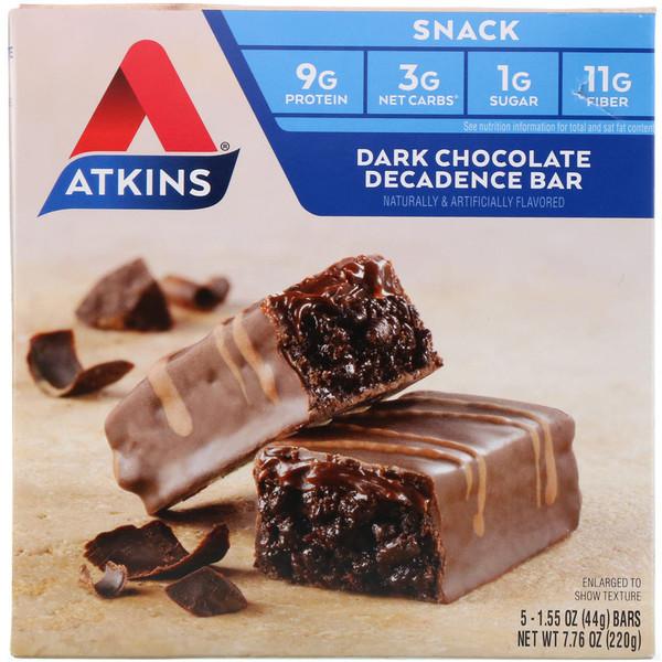 Atkins, Батончики с темным шоколадом, 5 батончиков, 1.6 унций (44 г.) каждый (Discontinued Item)
