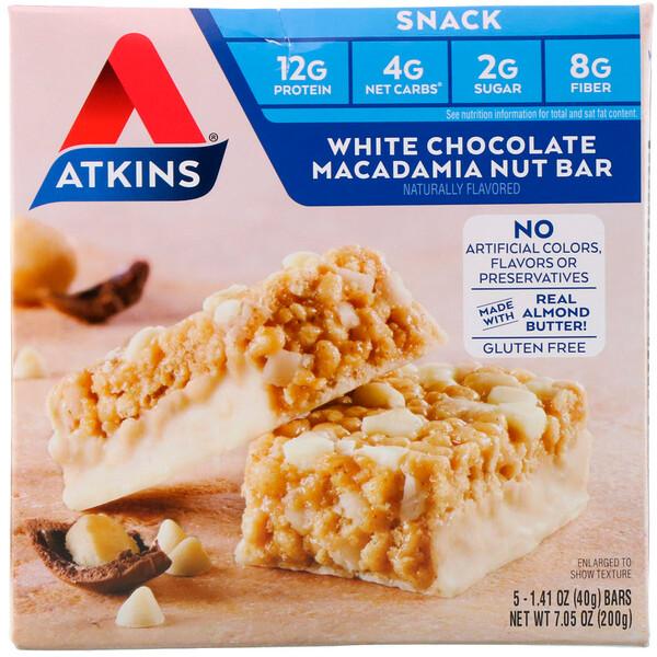 Снеки: батончик с белым шоколадом и орехом макадамия, 5 батончиков, весом 40 г (1,41 унции) каждый