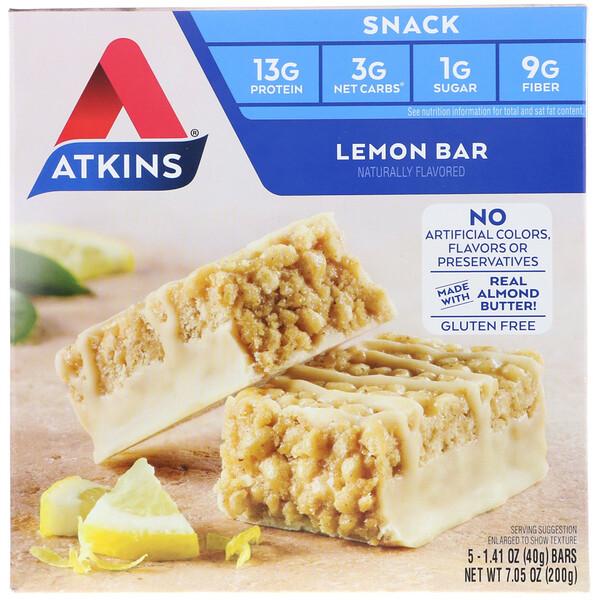 Atkins, Лимонный батончик, 5 батончиков, весом 40 г (1,41 унции) каждый