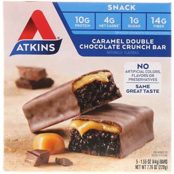 Снек, хрустящий батончик с карамелью и двойным шоколадом, 5 батончиков, весом 44 г (1,55 унции) каждый
