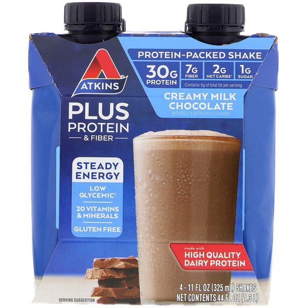 Plus Protein & Fiber, Creamy Milk Chocolate, 4 Shakes, 11 fl oz (325 ml) Each