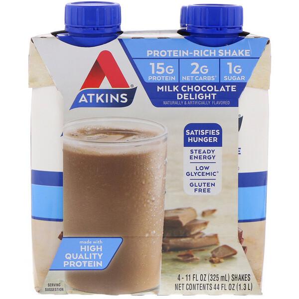 Atkins, Advantage, молочный коктейль с шоколадом, 4 коктейля, 11 жидких унций (325 мл) каждый (Discontinued Item)