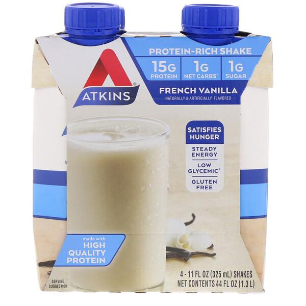 """Atkins, Коктейль """"Французская ваниль"""", 4 коктейля, 11 жидких унций (325 мл) каждый (Discontinued Item)"""