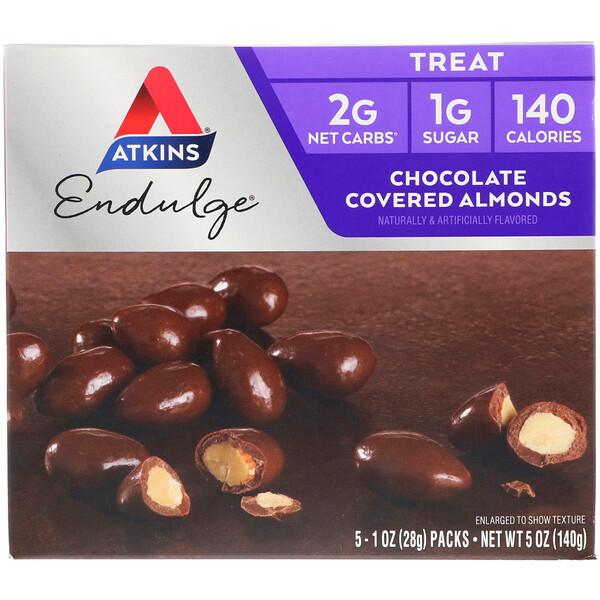 Endulge, Chocolate Covered Almonds, 5 Packs, 1 oz (28 g) Each