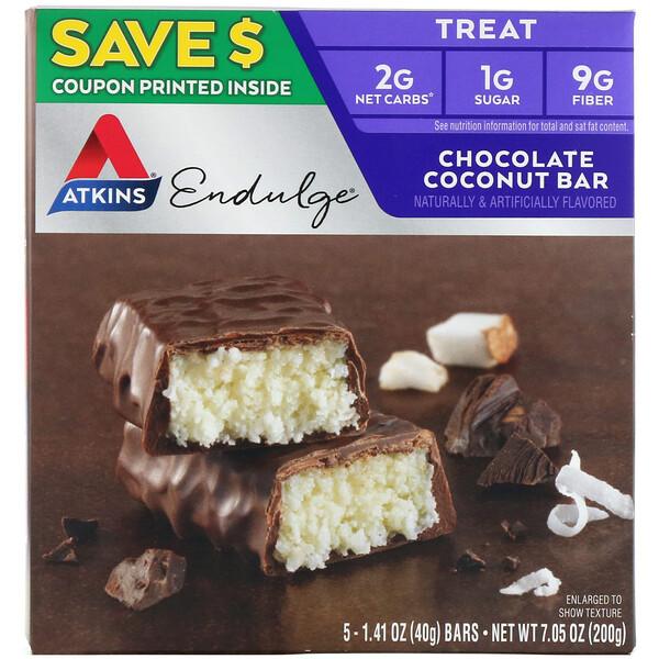 Endulge, шоколадные батончики с кокосом, 5 батончиков, 40 г каждый