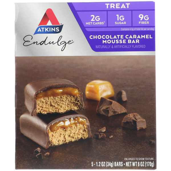 Endulge, Шоколадные батончики с карамельным муссом, 5 батончиков, каждый по 1,2 унции (34 г)