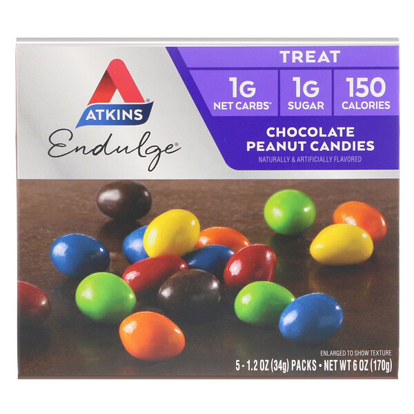 Treat Endulge, шоколадные конфеты с арахисом, 5 упаковок, весом 34 г (1,2 унции) каждая