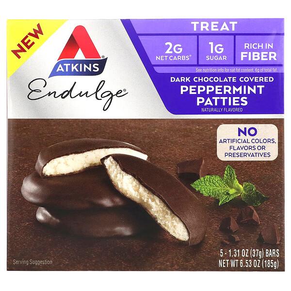Endulge Treat, мятные пирожки, покрытие темным шоколадом, 5батончиков, 37г (1,31унция) каждый